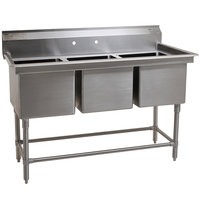 Eagle Group FN2472-3-14/3 Three 24 inch x 24 inch Bowl Stainless Steel Spec-Master Commercial Compartment Sink