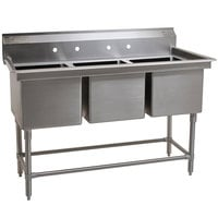 Eagle Group FN2060-3-14/3 Three 20 inch x 20 inch Bowl Stainless Steel Spec-Master Commercial Compartment Sink