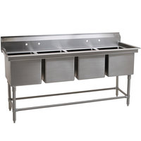 Eagle Group FN2064-4-14/3 Four 20 inch x 16 inch Bowl Stainless Steel Spec-Master Commercial Compartment Sink