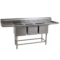 Eagle Group FN2472-3-24-14/3 Three 24 inch x 24 inch Bowl Stainless Steel Spec-Master Commercial Compartment Sink with Two 24 inch Drainboards