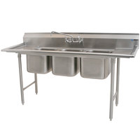 Eagle Group 312-14-3-12 Three 14 inch x 16 inch Bowl Stainless Steel Commercial Compartment Sink with Two 12 inch Drainboards