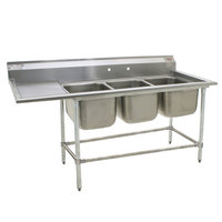 Eagle Group FN2060-3-24-14/3 Three 20 inch x 20 inch Bowl Stainless Steel Spec-Master Commercial Compartment Sink with 24 inch Drainboard