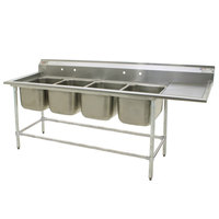Eagle Group FN2072-4-18-14/3 Four 20 inch x 18 inch Bowl Stainless Steel Spec-Master Commercial Compartment Sink with 18 inch Drainboard