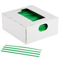 Bedford Industries Inc. 4 inch Green Laminated Bag Twist Ties   - 2000/Box