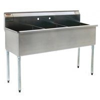 Eagle Group 1836-3-16/3 Three Compartment Stainless Steel Commercial Sink without Drainboard - 37 3/8 inch