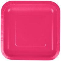 Creative Converting 453277 7 inch Hot Magenta Square Paper Lunch Plate - 180/Case