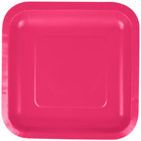 Creative Converting 453277 7 inch Hot Magenta Pink Square Paper Plate - 180/Case
