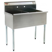 Eagle Group 1848-2-16/4 Two Compartment Stainless Steel Commercial Sink without Drainboard - 49 3/8 inch