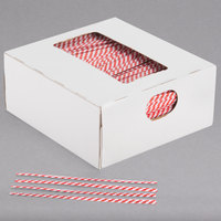 "Bedford Industries Inc. 4"" Red Stripe Laminated Bag Twist Ties - 2000/Box"