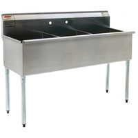 Eagle Group 2448-3-16/4 Three Compartment Stainless Steel Commercial Sink without Drainboard - 49 3/8 inch