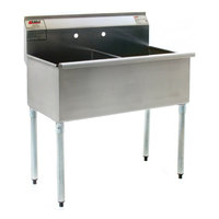Eagle Group 2448-2-24-16/4 Two Compartment Stainless Steel Commercial Sink with Two Drainboards - 96 1/4 inch
