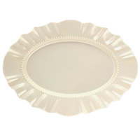 Elite Global Solutions D1511 Country Fixin's Antique White 15 3/4 inch x 11 1/2 inch Oval Melamine Platter