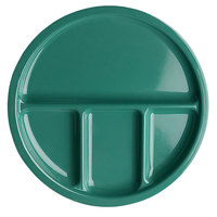 Elite Global Solutions DC1050 Rio 10 1/2 inch Autumn Green Round Four Compartment Melamine Dish   - 6/Case