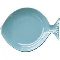Elite Global Solutions D12FSH Gone Fishin' Aqua 12 inch Large Melamine Fish Plate - 6/Case