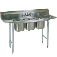 Eagle Group 310-10-3-24 Three Compartment Stainless Steel Commercial Sink with Two Drainboards - 84 inch