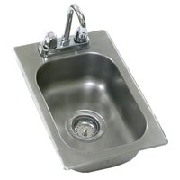 Eagle Group SR12-14-9.5-1 One Compartment Stainless Steel Drop-In Sink with Deck Mount Faucet and Gooseneck Nozzle - 12 inch x 14 inch x 9 1/2 inch Bowl