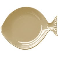 Elite Global Solutions D10FSH Gone Fishin' Banana Crepe 10 inch Small Melamine Fish Plate - 6/Case