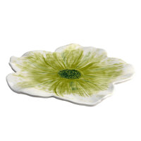 Elite Global Solutions M121FP Tropicana Design Design Green 12 inch Round Flower Melamine Plate