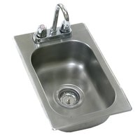 Eagle Group SR14-16-9.5-1 One Compartment Stainless Steel Drop-In Sink with Deck Mount Faucet and Gooseneck Nozzle - 14 inch x 16 inch x 9 1/2 inch Bowl