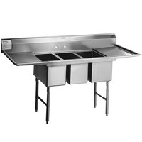 Eagle Group SFN3242-3-18-14/3 Three 32 inch x 14 inch Sideways Bowl Stainless Steel Spec-Master Commercial Compartment Sink with Two 18 inch Drainboards