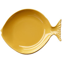 Elite Global Solutions D10FSH Gone Fishin' Yellow 10 inch Small Melamine Fish Plate - 6/Case