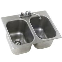 Eagle Group SR12-14-9.5-2 Two Compartment Stainless Steel Drop-In Sink with Deck Mount Faucet and Swing Nozzle - 12 inch x 14 inch x 9 1/2 inch Bowls