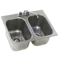 Eagle Group SR10-14-9.5-2 Two Compartment Stainless Steel Drop-In Sink with Deck Mount Faucet and Swing Nozzle - 10 inch x 14 inch x 9 1/2 inch Bowls