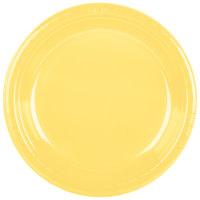 "Creative Converting 28102031 10"" Mimosa Yellow Plastic Plate - 240/Case"