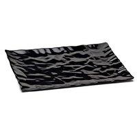 Elite Global Solutions M11181 Crinkled Paper Black 18 inch x 11 1/2 inch Rectangular Melamine Tray