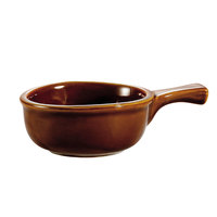 CAC OC-15-H Brown 15 oz. Onion Soup Crock / Bowl with Handle - 24/Case