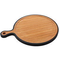 Elite Global Solutions BB1511 Bamboards 11 3/4 inch Circular Bamboo Cutting Board with Black Trim