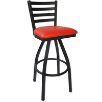 BFM Seating 2160SRDV-SB Lima Sand Black Steel Bar Height Chair with 2 inch Red Vinyl Swivel Seat