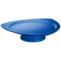 Tablecraft CW34101630CBL Cobalt Blue Cast Aluminum Triangle Plate with Pedestal