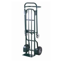 Harper DTT1648 2-Position 800 lb. Convertible Hand / Platform Truck with 10 inch x 3 1/2 inch Solid Rubber Wheels and 5 inch Urethane Casters