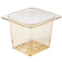 Cambro 65CLRHP150 H-Pan™ 1/6 Size Amber High Heat Plastic Colander Pan - 5 inch Deep