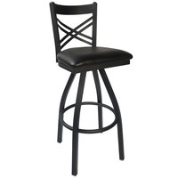 BFM Seating 2130SBLV-SB Akrin Metal Barstool with 2 inch Black Vinyl Swivel Seat