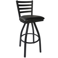 BFM Seating 2160SBLV-SB Lima Sand Black Steel Bar Height Chair with 2 inch Black Vinyl Swivel Seat