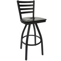 BFM Seating 2160SBLW-SB Lima Sand Black Steel Bar Height Chair with Black Wood Swivel Seat