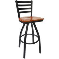 BFM Seating 2160SCHW-SB Lima Sand Black Steel Bar Height Chair with Cherry Wood Swivel Seat