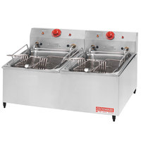 Cecilware ELT-500 Double Stainless Steel Commercial Countertop Electric Deep Fryer with 30 lb. Fry Tank - 240V, 8400/11000W