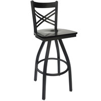 BFM Seating 2130SBLW-SB Akrin Metal Barstool with Black Wood Swivel Seat