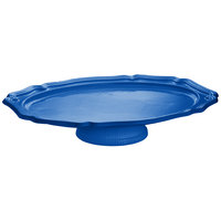 Tablecraft CW60201630CBL Cobalt Blue Cast Aluminum Queen Anne Oval Platter with Pedestal