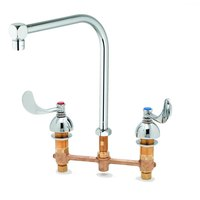 T&S B-2859 Deck Mount Faucet with 8 inch Centers, 4 inch Wrist Action Handles, and EasyInstall Inlets - 8 3/8 inch Spread