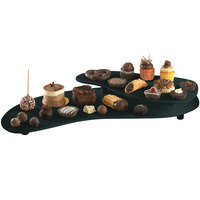 Tablecraft CW16080BKGS Black with Green Speckle Cast Aluminum 25 inch x 10 inch Two Tiered Platter
