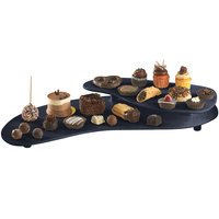 Tablecraft CW16080MBS Midnight with Blue Speckle Cast Aluminum 25 inch x 10 inch Two Tiered Platter
