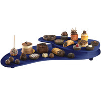 Tablecraft CW16080BS Blue Speckle Cast Aluminum 25 inch x 10 inch Two Tiered Platter