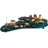 Tablecraft CW16080HGNS Hunter Green with White Speckle Cast Aluminum 25 inch x 10 inch Two Tiered Platter