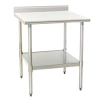 "Eagle Group T2430E-BS 24"" x 30"" Stainless Steel Work Table with Galvanized Undershelf and 4 1/2"" Backsplash"