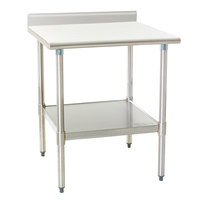 """Eagle Group T2424EB-BS 24"""" x 24"""" Stainless Steel Work Table with Galvanized Undershelf and 4 1/2"""" Backsplash"""
