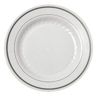 Fineline Silver Splendor 506WH White 6 inch Plastic Plate with Silver Bands - 15 / Pack